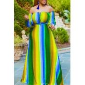 lovely Bohemian Striped Yelllow Maxi Dress