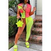 Lovely Street Color-lump Patchwork Green Two-piece