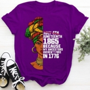 lovely Street O Neck Letter Print Purple Plus Size