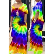 lovely Street Tie-dye Green Maxi Dress