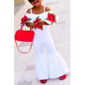 Lovely Trendy Rose Print White Girl Two-piece Pants Set