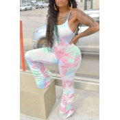 lovely Trendy Tie-dye Pink One-piece Jumpsuit