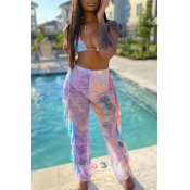 lovely Butterfly Print Multicolor Cover-up(Two-piece)