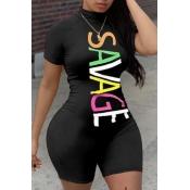 Lovely Sportswear Letter Print Black Plus Size One