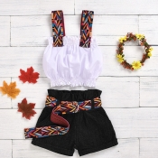 lovely Ethnic Print Patchwork White Girl Two-piece