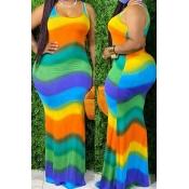 Lovely Bohemian Rainbow Striped Green Maxi Plus Si