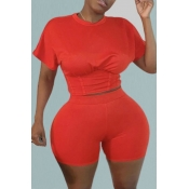 Lovely Leisure O Neck Skinny Red Plus Size Two-pie