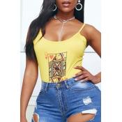 lovely Trendy Print Yellow Bodysuit