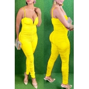 lovely Trendy Fold Design Yellow One-piece Jumpsui
