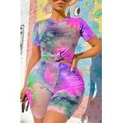 Lovely Street O Neck Tie-dye Purple Plus Size Two-