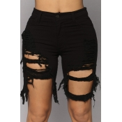 lovely Casual Hollow-out Black Denim Shorts