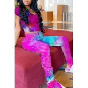 Lovely Casual Tie Dye Rose Red Two Piece Pants Set