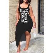 Lovely Casual Print Black Ankle Length Dress