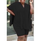 Lovely Casual V Neck Side Slit Black Plus Size Two