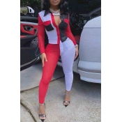 Lovely Street Color-lump Patchwork Red Two-piece P