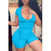 lovely Casual U Neck Blue One-piece Romper