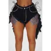 lovely Sexy Bandage Design Asymmetrical Black Denim Shorts