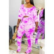 lovely Casual Tie-dye Fold Design Rose Red Plus Size Two-piece Pants Set
