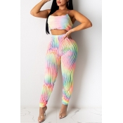 lovely Trendy Tie-dye Multicolor Two-piece Pants S