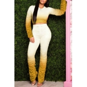 lovely Trendy Gradual change Yellow Two-piece Pant