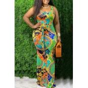 lovely Bohemian U Neck Print Green Maxi Dress