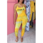 lovely Trendy Letter Print Yellow One-piece Jumpsu