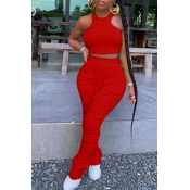 lovely Stylish Fold Design Red Two-piece Pants Set
