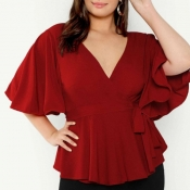lovely Sweet V Neck Flounce Design Red Plus Size B