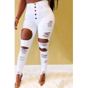 Lovely Street Buttons Design Hollow-out White Jean
