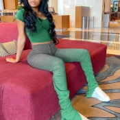 Lovely Casual Gradual Change Green Two-piece Pants