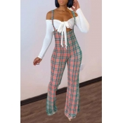 Lovely Sweet Lace-up Grid Print Pink Two-piece Pants Set