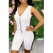 Lovely Sportswear Zipper Design White One-piece Ro