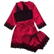lovely Trendy Lace Hem Wine Red Sleepwear