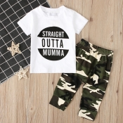 lovely Leisure O Neck Letter Print White Boy Two-piece Pants Set