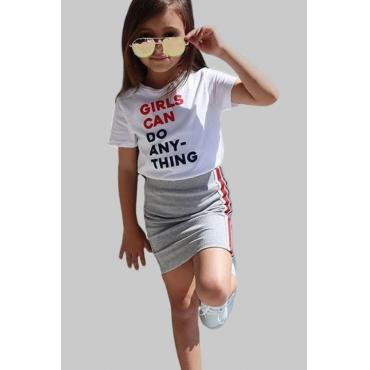 lovely Casual Letter Pritn White Girl Two-piece Skirt Set