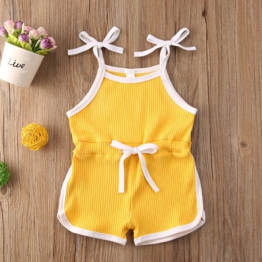 lovely Sportswear Lace-up Yellow Girl One-piece Romper