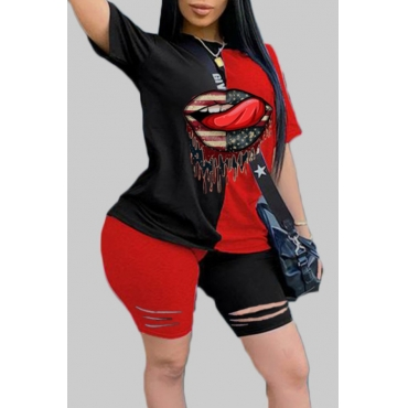 Lovely Sportswear Print Patchwork Black Plus Size Two-piece Shorts Set