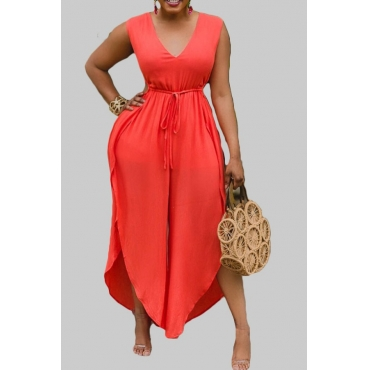 lovely Casual Lace-upl Loose Orange Plus Size One-piece Jumpsuit