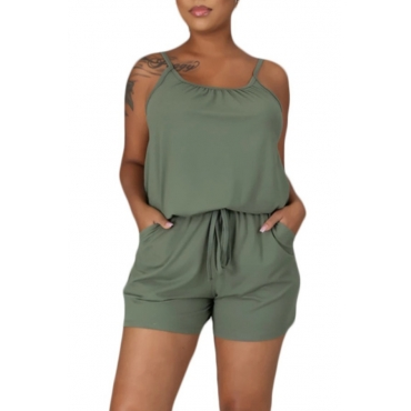 lovely Casual Drawstring Green One-piece Romper