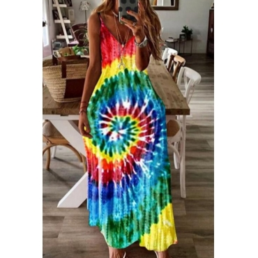 Lovely Casual Spaghetti Strap Print Ankle Length A Line Plus Size Dress