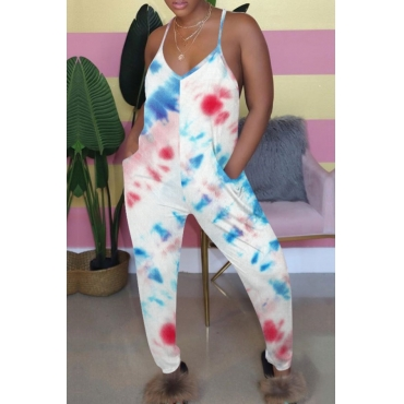 lovely Casual Spaghetti Strap Tie-dye Print Blue One-piece Jumpsuit