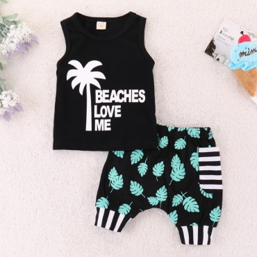 lovely Leisure Plants Print Black Boy Two-piece Shorts Set