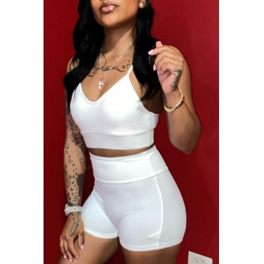 lovely Sexy Skinny White Two-piece Shorts Set