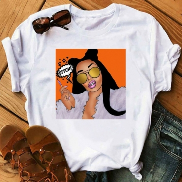 lovely Casual O Neck Print Orange T-shirt