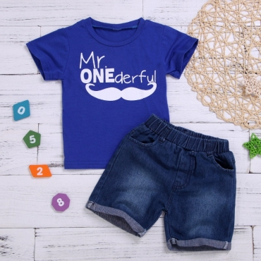 lovely Casual Letter Print Deep Blue Boy Two-piece Shorts Set