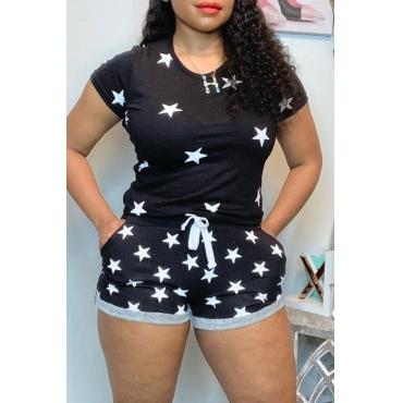 lovely Casual Print Patchwork Black Two-piece Shorts Set