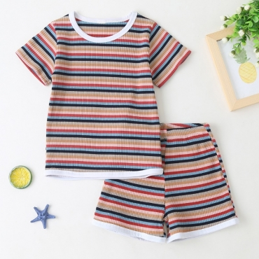 lovely Casual Striped Multicolor Girl Two-piece Shorts Set