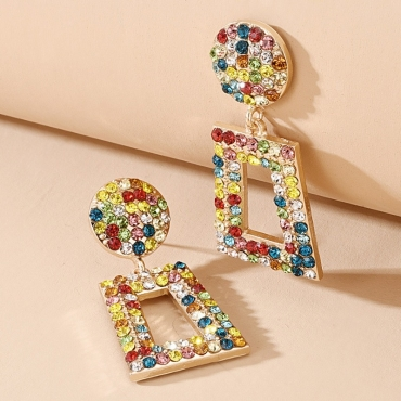 lovely Trendy Rhinestone Decorative Multicolor Earring