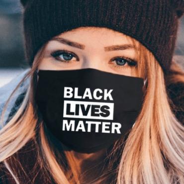 Lovely Letter Print Black Face Mask