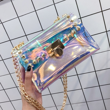 lovely Trendy Chain Strap Clear Luctte Crossbody Bag